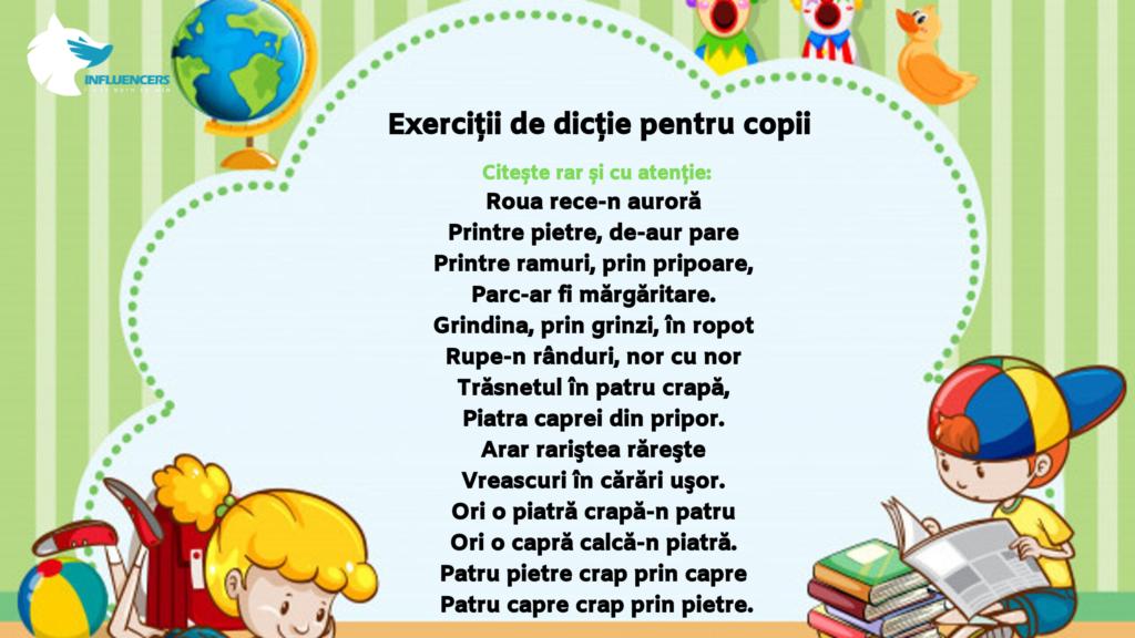 exerciții de dicție pentru copii